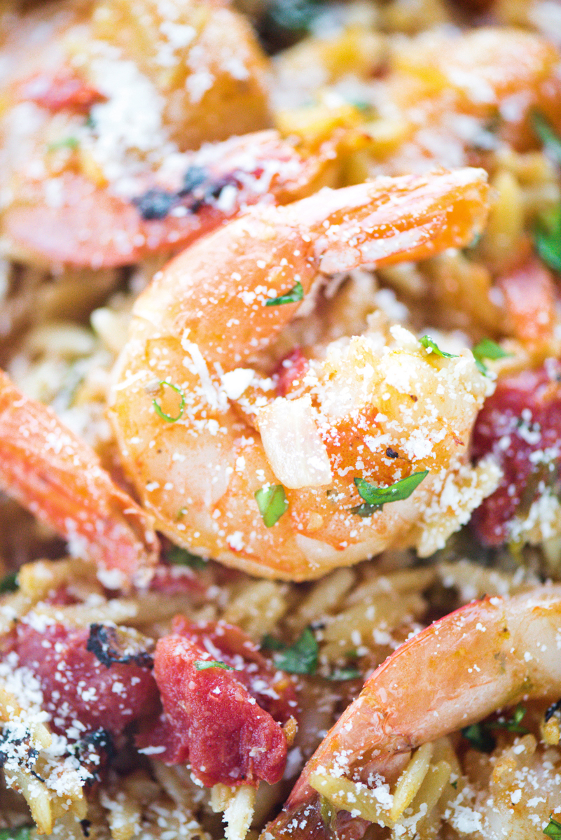 One Pot Lemon Garlic Shrimp Orzo