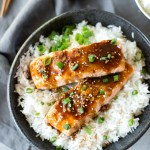Asian Honey Orange Glazed Salmon- unbelievably good Asian flavors and done in just 20 minutes! This easy recipe is perfect for weeknights.