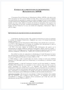 APPOR - Ethique et Déontologie, Association Prévention Orthophonie Rhône