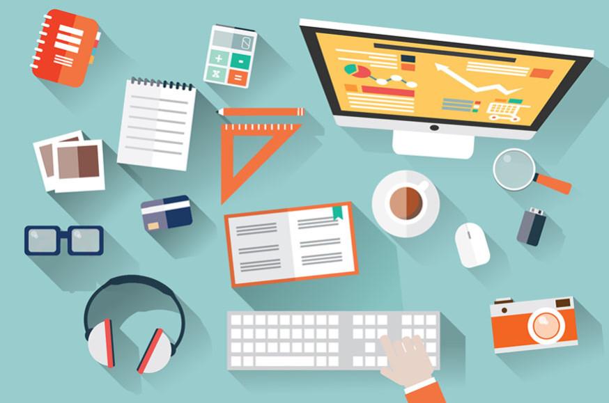 Flat design objects, work desk, long shadow, office desk, comput