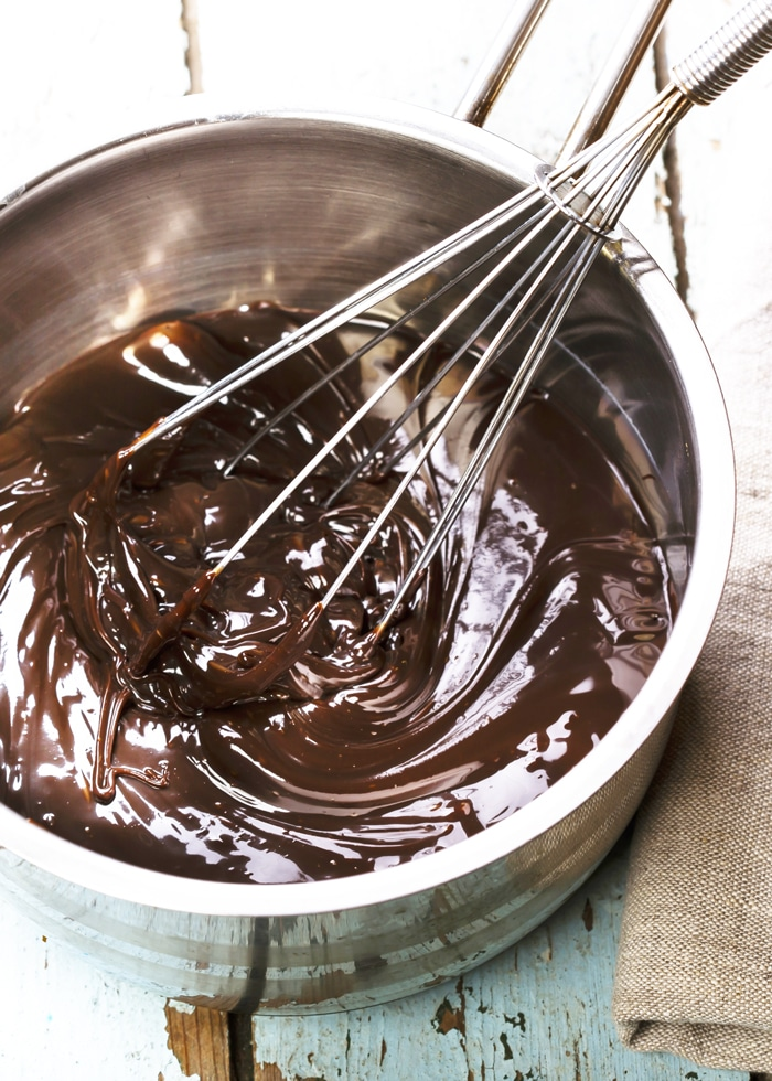 The Best Chocolate Brownie Recipe made rich melted chocolate and coco powder and iced with a bit of chocolate melted on top