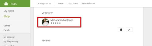صورة لكيفية تقييم التطبيق في متجر جوجل بلاي