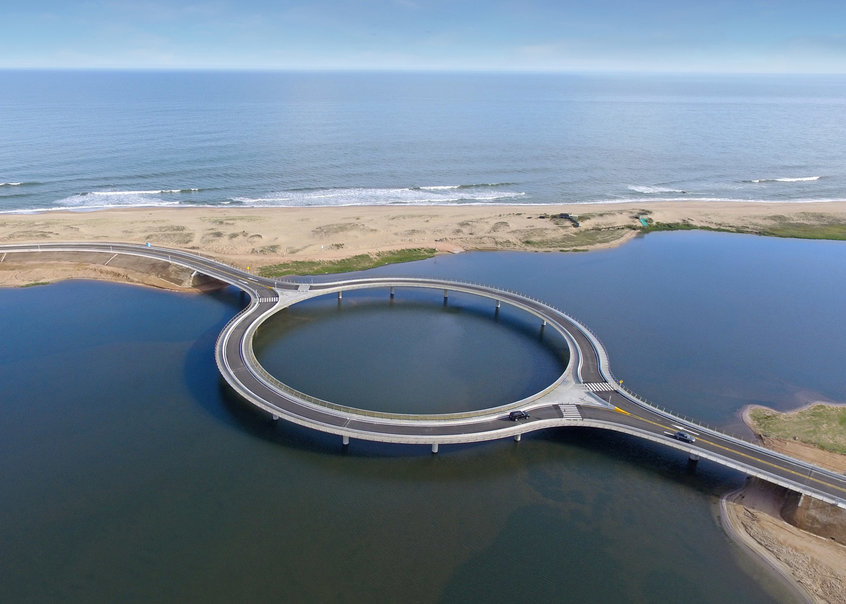 Take a look at Rafael Vi    oly s new circular bridge in Uruguay   News     The design of the recently completed roundabout bridge in southeastern  Uruguay wants drivers to slow down