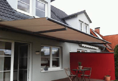 installed awning over patio