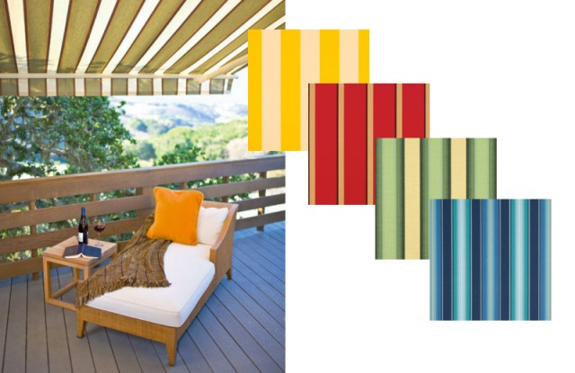 awning over deckchair with fabric colour swatches