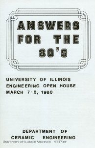 Ceramic Engineering Open House program, 1980. Found in Record Series 11/4/803.