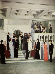 Students dressed up for an event in Lincoln Hall. Found in the 1936 Illio.