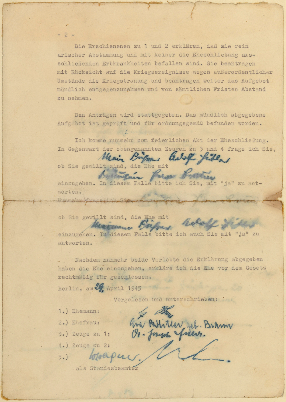 hitlers political testament personal will and marriage certificate from the bunker in berlin to the national archives in washington d c part i the creation of the documents wedding certificate certificate1 certificate 2