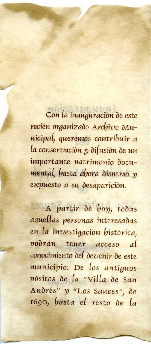 2. Programa de la inauguración del AMSAYS · San Andrés y Sauces