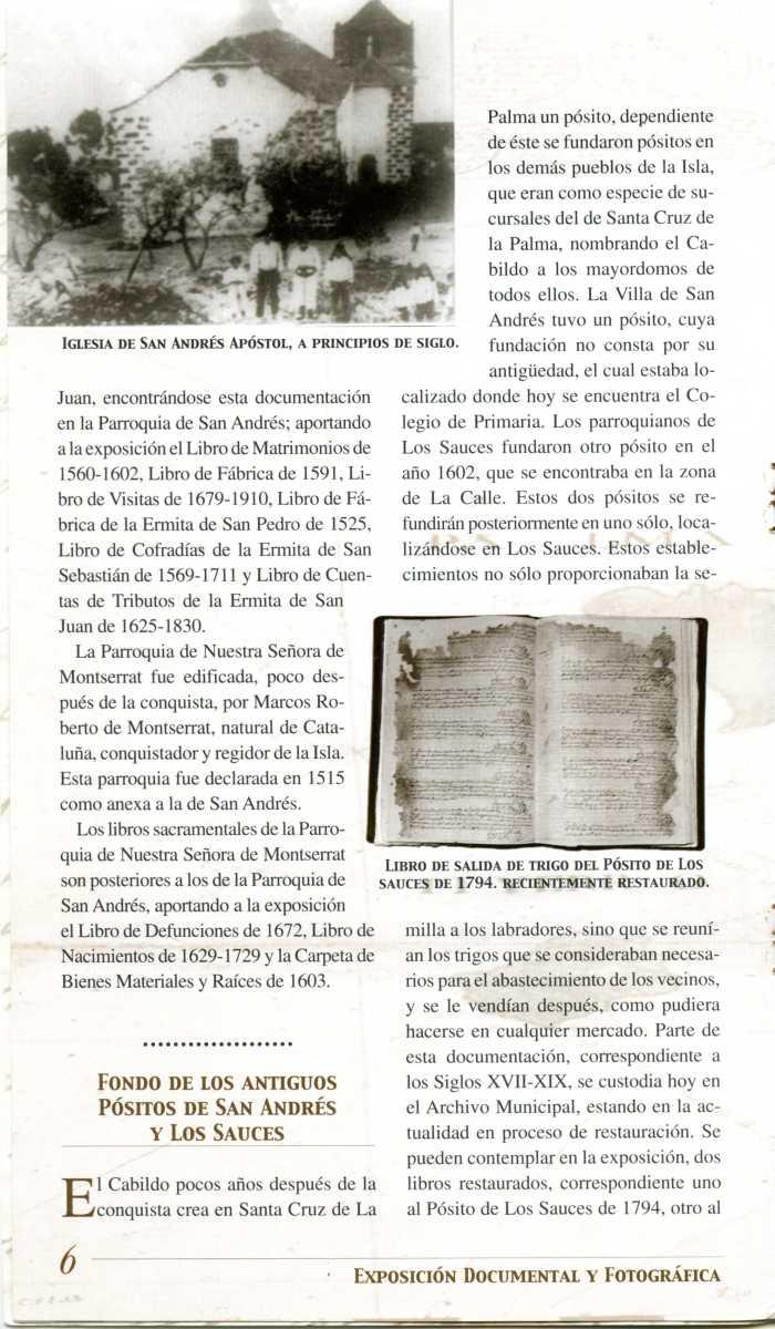 22. Programa de la Exposición Documental y Fotográfica de San Andrés y Sauces, organizada en 1999