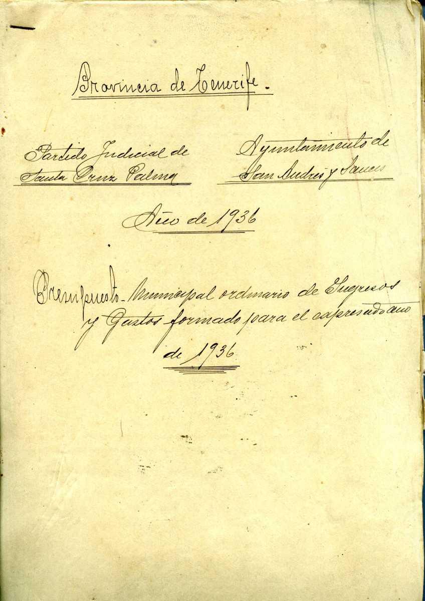 36. Expediente del Presupuesto Municipal Ordinario de Ingresos y Gastos. 1936