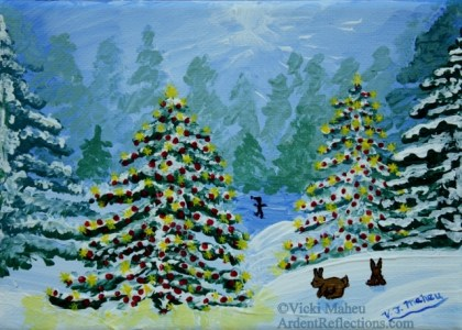 Two little bunnies play in the snow near two outdoor Christmas trees, while a lone skater glides over the pond in the distance. 5x7 acrylic on canvas by V.J.Maheu