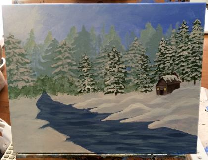 Here I worked on shading the snowdrifts a little more, and I added in some texture, highlights and and darker areas in the river.
