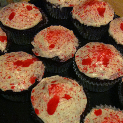 Blood Splattered Cupcakes