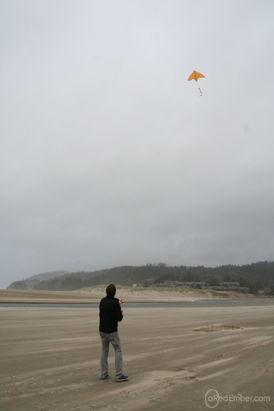 kite flying on cannon beach