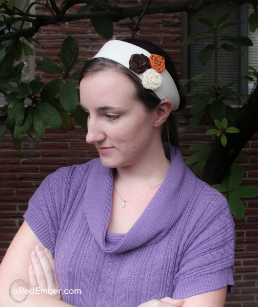 burlap flower headband