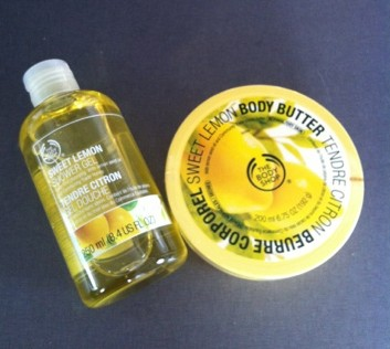 body shop body butter och shower gel duschcreme citron sweet lemon