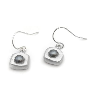 Black Silver Pearl Earrings