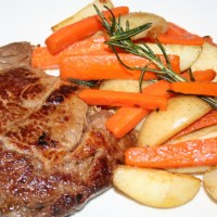 Scotch Fillet Steak  with Sauté Potatoes and Carrot