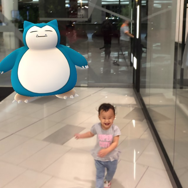 Daughter being chased by a Snorlax Had to catch ithellip