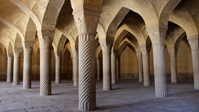 Pillars inside the Vakil Mosque in Shiraz.