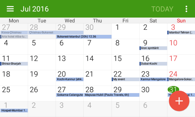 S Planner calendar for Android phones.