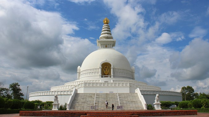 The World Peace Pagoda of Lumbini from the front.