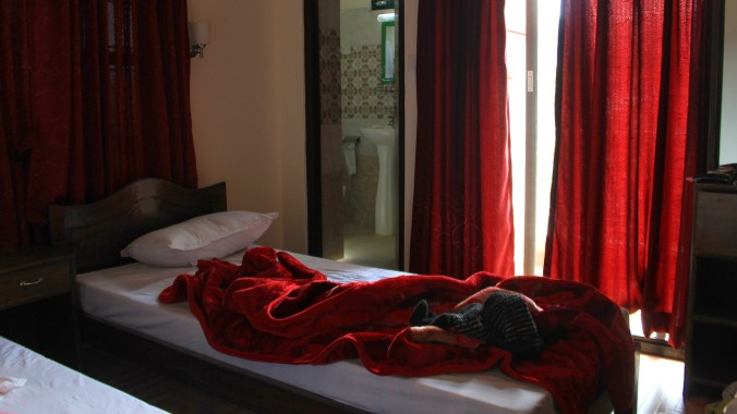 Inside a hotel room in Norday Montes Peace Home & Village guesthouse in Pokhara.