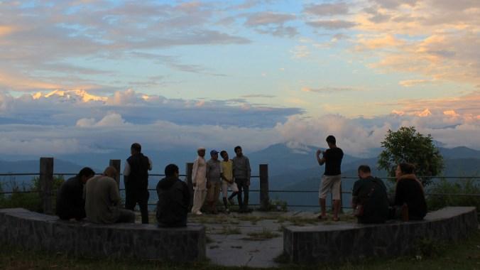 Spotting the mountains at sunset in Tundikhel, Nepal.