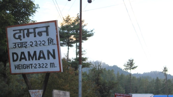 The sign of Daman at the altitude of 2322 meters.