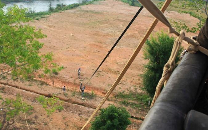 Landing a hot air balloon in Vang Vieng.