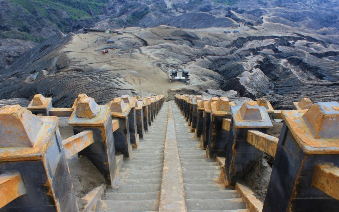 The climb up to Mount Bromo is surprisingly easy, and there's a stairway on the side of the volcano.