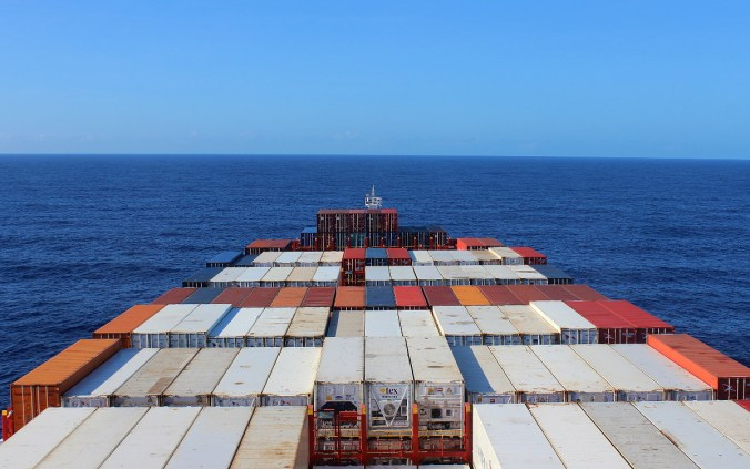 View from a cargo ship cabin. Cargo ship travel across the Pacific Ocean.