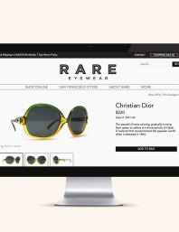 Website design for Valencia Street shop Rare Eyewear