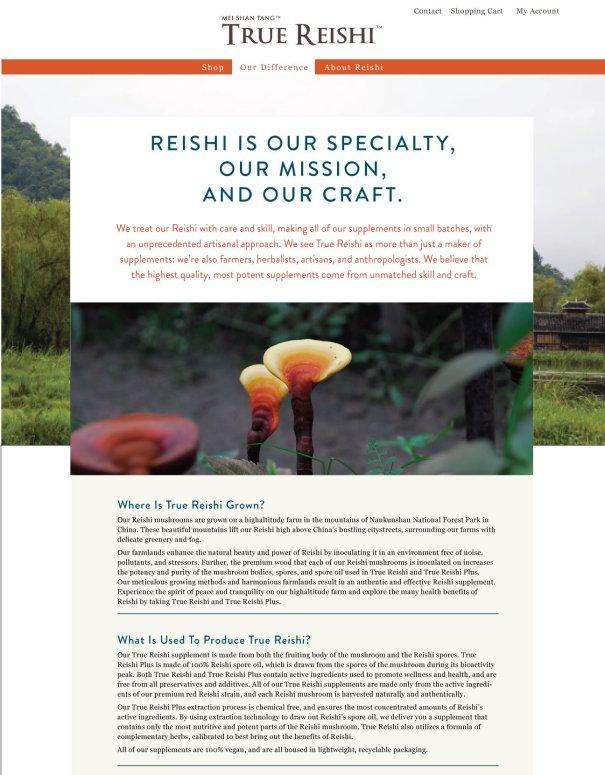 True Reishi web design, natural supplement, commerce