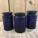 Stunning Vintage Blue Glass Jars from Hungary. All unique as they were hand made. They make beautiful vases or you could put a light or candle inside. Available on line now arkvintage Camberley Surrey.