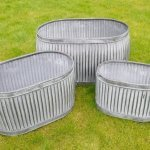 Galvanised Metal Planter Tubs Oval Now Online from arkvintage. Classic ribbed planters in galvanised metal. Fabulous vintage look for your garden trees, plants or herbs etc. Available online now in 3 sizes. vintage dolly tubs arkvintage camberley surrey buy shop online P&P