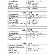 Grad Week Class Schedule