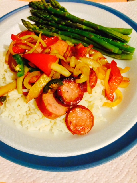 sausage, pepper,s onions, rice, asparagus