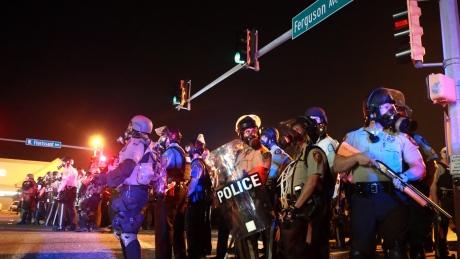 Police in riot gear in Ferguson, MO