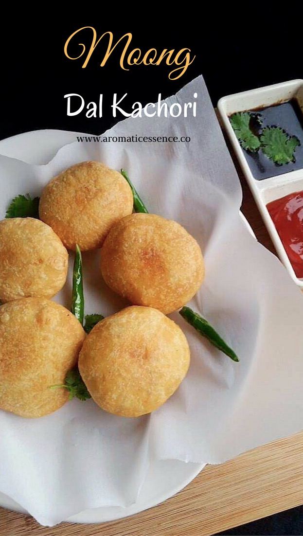 Moong dal kachori ( Flaky puff pastry stuffed with spicy moong dal filling)