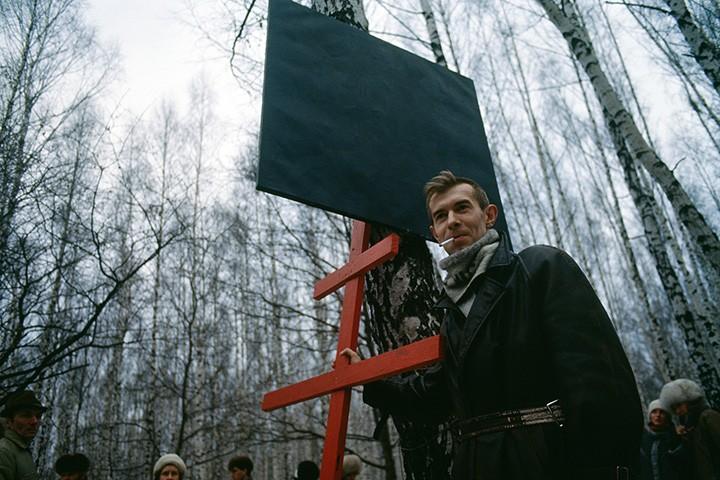 Никита Алексеев на выставке «Битца за искусство» в Битцевском парке, 1986 год // Фото: Виктория Ивлева, источник - vozduh.afisha.ru