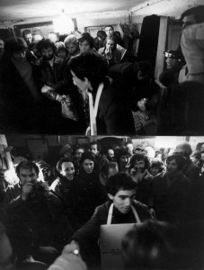 """Перфоманс Юрия Альберта """"Отдача тепла людям при помощи рукопожатий"""" // Выставка в мастерской М. Одноралова, 1979 год"""