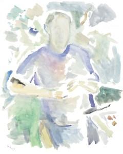 Автопортрет на балконе. 1999. Бумага, акварель, гуашь, 62,5х50