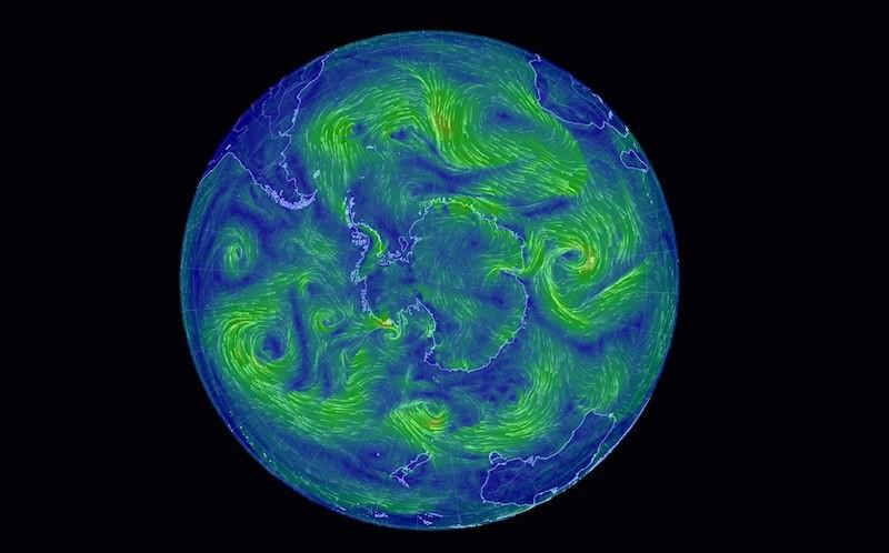 Скриншот онлайн-визуализации потоков ветра на южном полисе 6.05.16