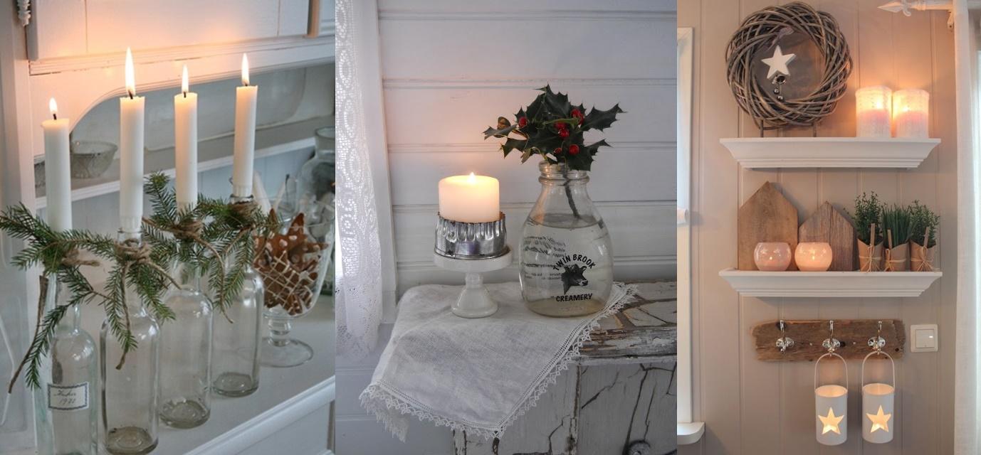 Mensole decorate per un natale shabby chic foto for Mensole bianche ikea