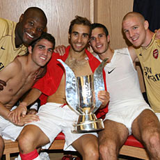 The Arsenal boys celebrate their Emirates Cup win