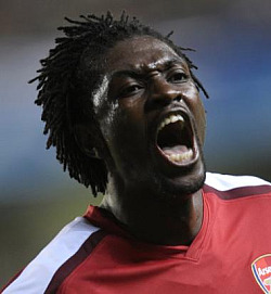 Adebayor celebrates his astounding goal