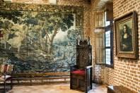 Una stanza di Clos Lucé con copia della Gioconda