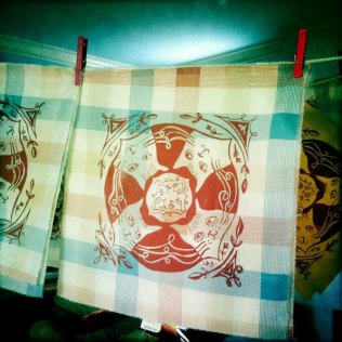 Hankies drying in the studio